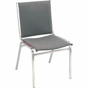 "Durable Multi-Purpose Armless Stack Chair - 1"" thick Seat Gray Fabric"
