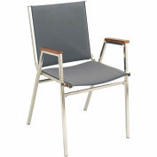 "Durable Multi-Purpose Arm Stack Chair - 1"" thick Seat Gray Fabric"