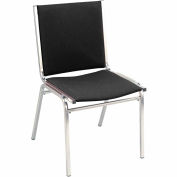 "Durable Multi-Purpose Armless Stack Chair - 1"" thick Seat Black Fabric"