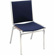 "Durable Multi-Purpose Armless Stack Chair - 1"" thick Seat Navy Fabric"