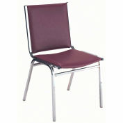 "Durable Multi-Purpose Arm Stack Chair - 1"" thick Seat Burgundy Vinyl"