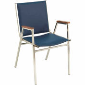 "Durable Multi-Purpose Arm Stack Chair - 1"" thick Seat Navy Vinyl"