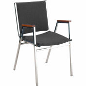 "Durable Multi-Purpose Arm Stack Chair - 1"" thick Seat Black Vinyl"
