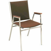 "Durable Multi-Purpose Arm Stack Chair - 1"" thick Seat Brown Fabric"