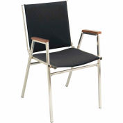 "Durable Multi-Purpose Arm Stack Chair - 1"" thick Seat Black Fabric"