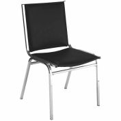 "Durable Multi-Purpose Armless Stack Chair - 2"" thick Seat Black Vinyl"