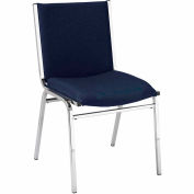 "Durable Multi-Purpose Armless Stack Chair - 2"" thick Seat Navy Fabric"