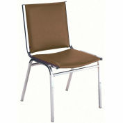 "Durable Multi-Purpose Armless Stack Chair - 2"" thick Seat Brown Vinyl"