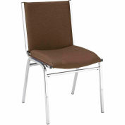 "Durable Multi-Purpose Armless Stack Chair - 2"" thick Seat Brown Fabric"