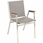 "KFI Stack Chair With Arms - Vinyl -2"" thick Seat Light Gray Vinyl"
