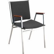 "Durable Multi-Purpose Arm Stack Chair - 2"" thick Seat Black Vinyl"