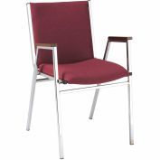 "Durable Multi-Purpose Arm Stack Chair - 2"" thick Seat Burgundy Fabric"