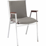 "Durable Multi-Purpose Arm Stack Chair - 2"" thick Seat Gray Fabric"