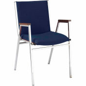 "Durable Multi-Purpose Arm Stack Chair - 2"" thick Seat Navy Fabric"