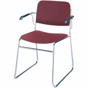 Sled Base Arm Stack Chair - Burgundy Vinyl