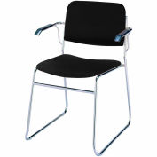 Sled Base Arm Stack Chair - Black Vinyl
