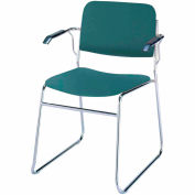 Sled Base Arm Stack Chair - Forest Vinyl