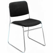 Sled Base Armless Stack Chair - Black Vinyl