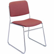 Sled Base Armless Stack Chair - Burgundy Fabric