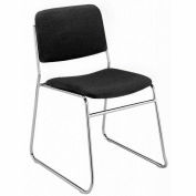 KFI Armless Stack Chair with Sled Base - Black Fabric