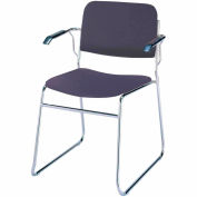 Sled Base Arm Stack Chair - Navy Vinyl