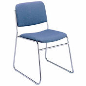 Sled Base Armless Stack Chair - Denim Fabric
