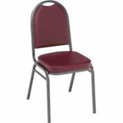 Heavy Duty Banquet Stacking Chair - Burgundy Vinyl /Silver Vein Frame