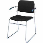 Sled Base Arm Stack Chair - Black Fabric