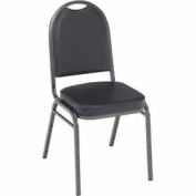 Heavy Duty Banquet Stacking Chair - Black Vinyl /Silver Vein Frame