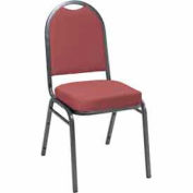 Heavy Duty Banquet Stacking Chair - Burgundy Fabric /Silver Vein Frame