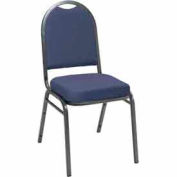 Heavy Duty Banquet Stacking Chair - Blue Fabric /Silver Vein Frame