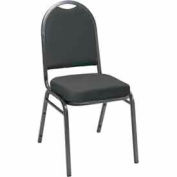 Heavy Duty Banquet Stacking Chair - Black Fabric /Silver Vein Frame