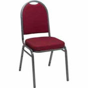 Heavy Duty Banquet Stacking Chair-Burgundy Pindot Fabric /Silver Vein Frame