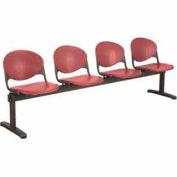 KFI Beam Seating - 4 Burgundy Seats