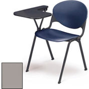 Designer Stacking Arm Chair Desk w/ Right Handed Tablet  - Cool Gray Seat & Back