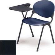 Designer Stacking Arm Chair Desk w/ Left Handed Tablet  - Charcoal Seat & Back