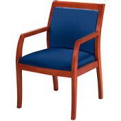 Classic Wood Guest Chair - Full Back, Navy Fabric, Medium Cherry Finish