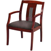 Classic Wood Guest Chair - Slat Back, Black Fabric, Dark Cherry Finish