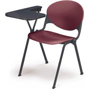 Designer Stacking Arm Chair Desk w/ Right Handed Tablet  - Burgundy Seat & Back