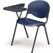 Designer Stacking Arm Chair Desk w/ Left Handed Tablet - Navy Seat & Back