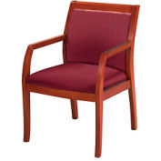 Classic Wood Guest Chair - Full Back, Burgundy Fabric, Medium Cherry Finish