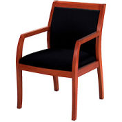 Classic Wood Guest Chair - Full Back, Black Fabric, Medium Cherry Finish