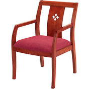 Classic Wood Guest Chair - Diamond Back, Burgundy Fabric, Medium Cherry Finish