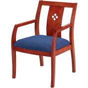 Classic Wood Guest Chair - Diamond Back, Navy Fabric, Medium Cherry Finish