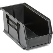 Global™ Plastic Stacking Bins - Parts Storage Bin 5-1/2 x 10-7/8 x 5, Black - Pkg Qty 12