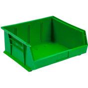 Global™ Plastic Stackable Bin 11 x 10-7/8 x 5, Green - Pkg Qty 6