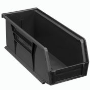 Global™ Plastic Stacking Bins - Parts Storage Bin 4-1/8 x 10-7/8 x 4, Black - Pkg Qty 12