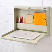 "Folding Wall Mounted Locking Shop Desk, 20""W x 3-3/8""D x 16-3/8""H, Tan"
