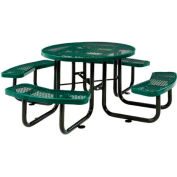 "46"" Round Outdoor Steel Picnic Table - Expanded Metal - Green"