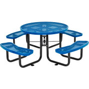 "46"" Round Outdoor Steel Picnic Table - Expanded Metal - Blue"